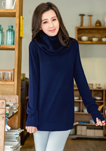 純色鬆高領保暖針織毛衣